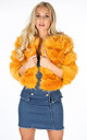Cropped Super Soft Faux Fur Jacket In Mustard by Dressed In Lucy
