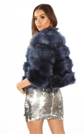 Cropped Super Soft Faux Fur Jacket In Navy by Dressed In Lucy