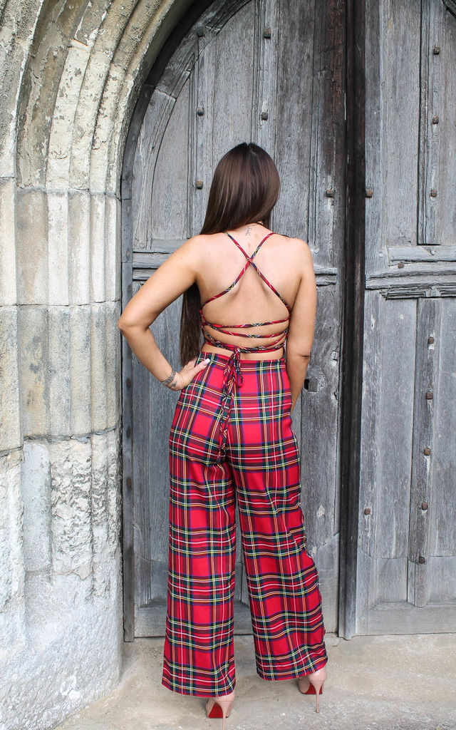 Red Tartan Check Lace-Up Back Flare Jumpsuit by MISSTRUTH