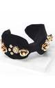 Black Satin Embellished Headband by Johnny Loves Rosie