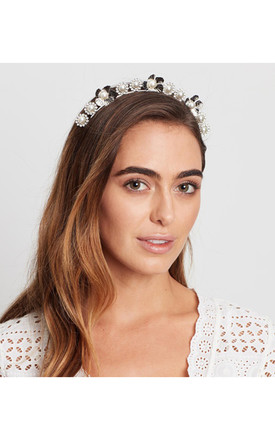 Silver Flower & Pearl Headband by Johnny Loves Rosie