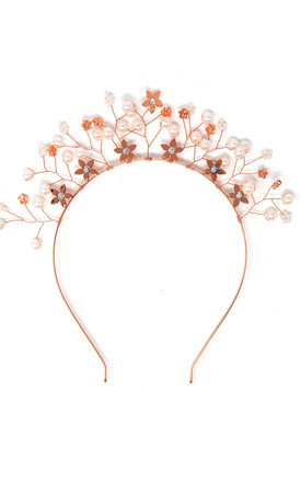 Rose Gold Floral Embellished Crown Headband by Johnny Loves Rosie