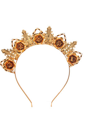 Johnny Loves Rosie Gold Rose & Pearl Crown Headband by Johnny Loves Rosie