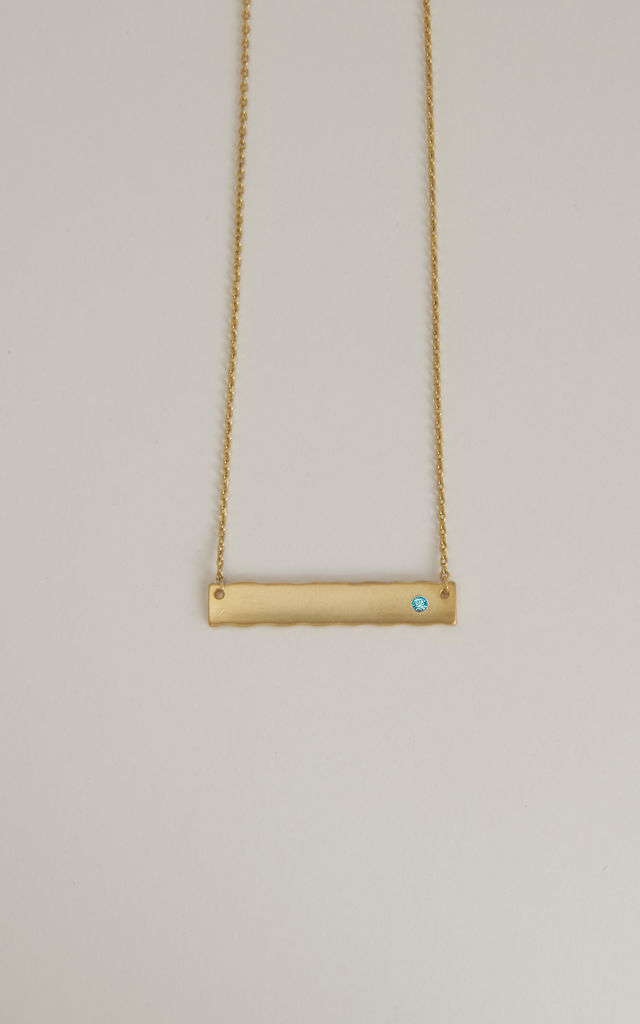 January Birthstone Aquamarine Bar Pendant (Gold) by DOSE of ROSE