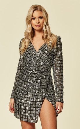 Long Sleeved Wrap Sequin Mini Dress by Pretty Darling