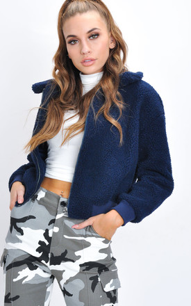 Teddy Faux Fur Borg Bomber Jacket Navy Blue by LILY LULU FASHION