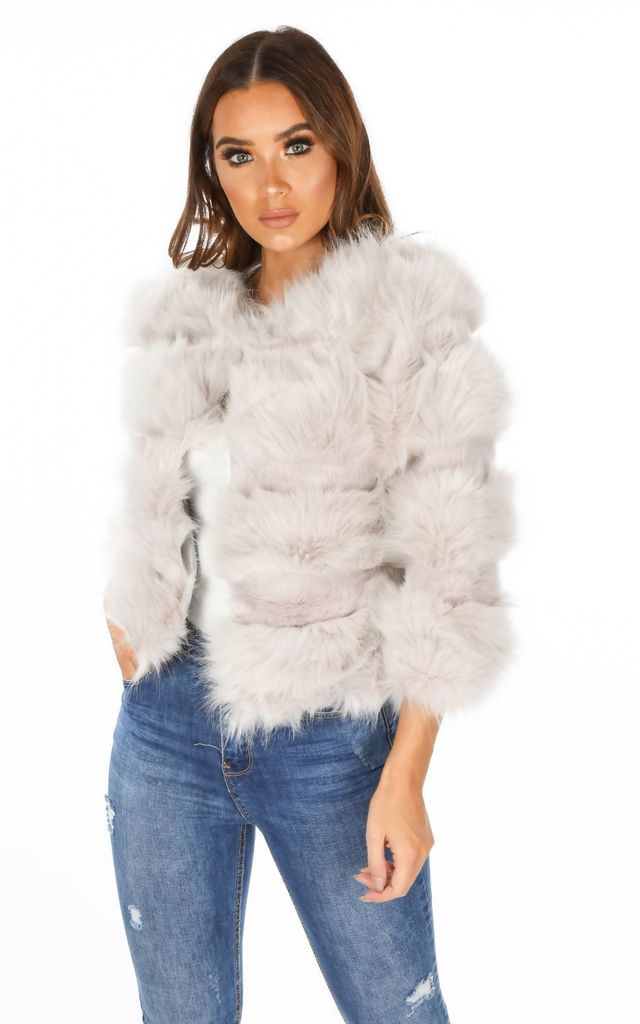 Cropped Super Soft Faux Fur Jacket In Light Grey by Dressed In Lucy