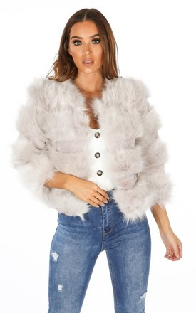 Cropped Super Soft Faux Fur Jacket In Light Grey by Dressed In Lucy Product photo