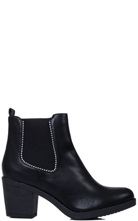 HOLLIE Ball Chain Block Heel Chelsea Ankle Boots - Black Leather Style by SpyLoveBuy