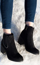 HOLLIE Ball Chain Block Heel Chelsea Ankle Boots - Black Suede Style by SpyLoveBuy