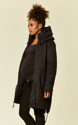 Black Maternity Carry Me Padded Jacket by Mamalicious