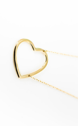 Gold Heart-On-The-Side Necklace by Booboo Boutique