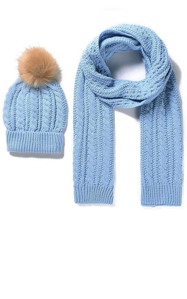 922276aea2e Baby Blue Knitted Pom Pom Hat   Scarf Set by Xander Kostroma