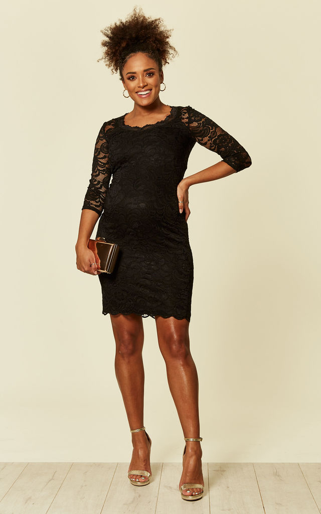 Black Maternity 3/4 Lace Jersey Dress by Mamalicious