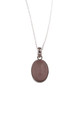 Sterling Silver Rose Quartz Oval Pendant Necklace by Gypsy Spirit