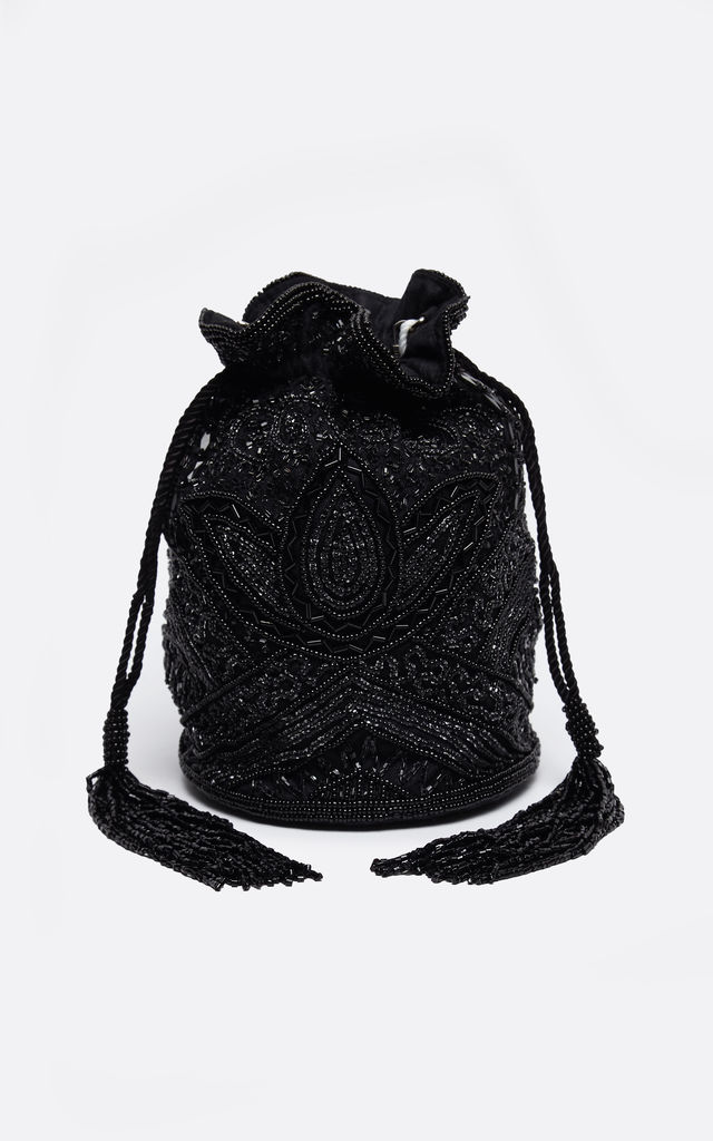Beatrice Vintage Inspired Hand Embellished Bucket Bag in Black by Gatsbylady London