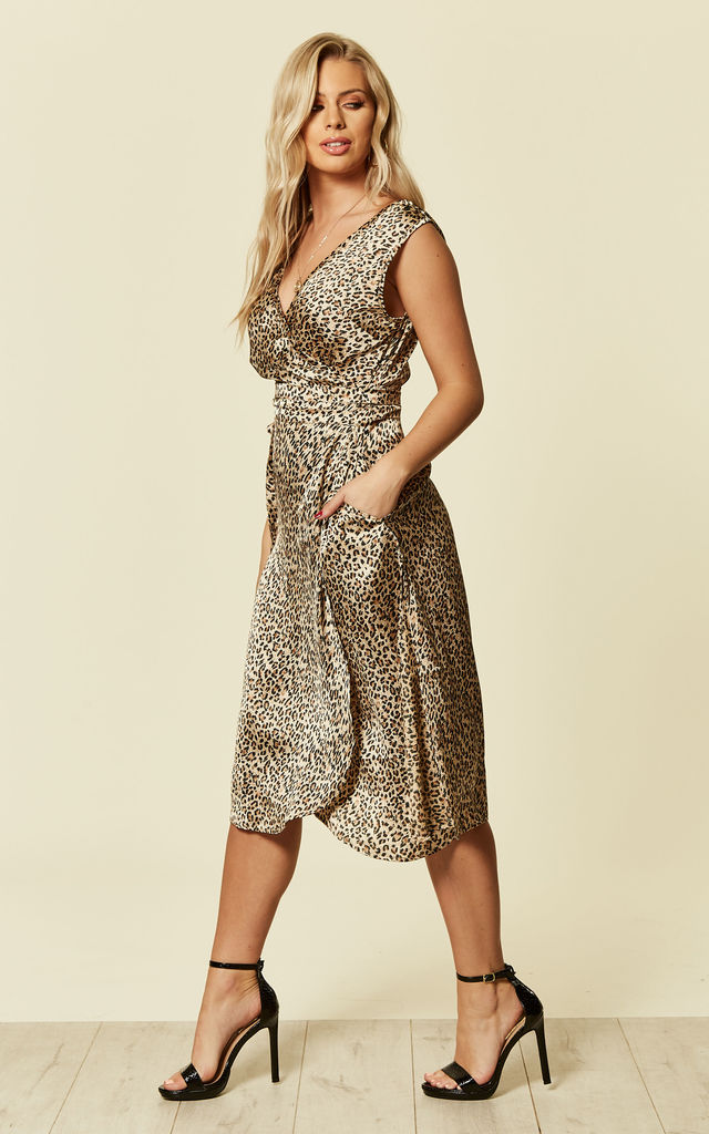 Leopard Print Midi Satin Wrap Dress With Side Splits by likemary