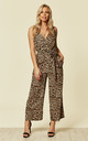 Culotte Jumpsuit Leopard Print Crossover Front by likemary