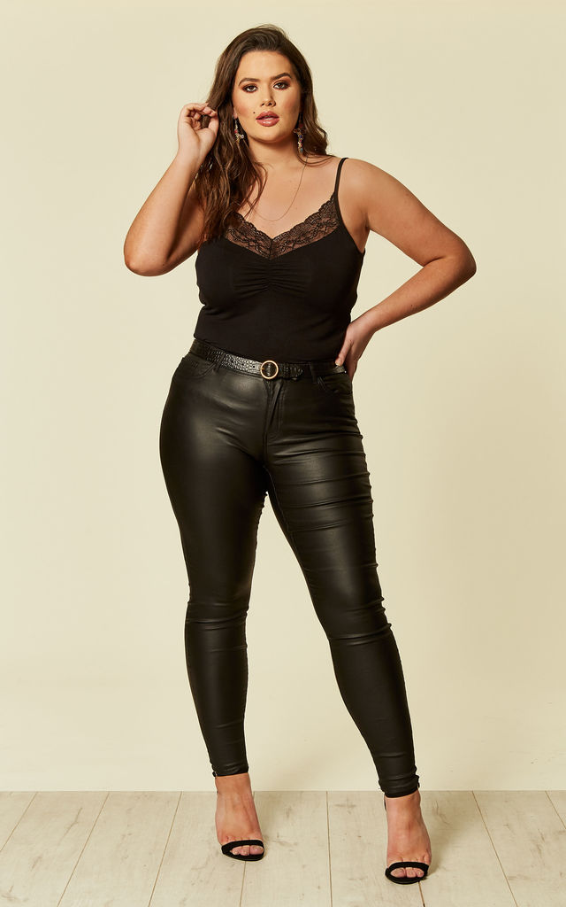 aa60bba4e3a9e Plus Size Black Extra Slim Coated Jeans | Juna Rose | SilkFred