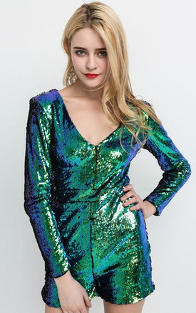 Iridescent Blue Sequin Playsuit With Long Sleeves by LOVEMYSTYLE