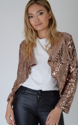 Copper Gold All Over Sequin Waterfall Jacket by LOVEMYSTYLE