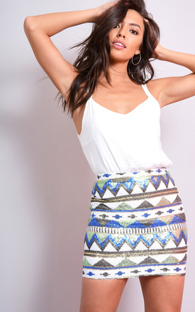 White Mini Skirt With Sequin Embellishment by LOVEMYSTYLE