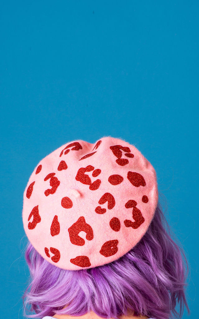 Glitter Leopard Print Beret by Crown and Glory