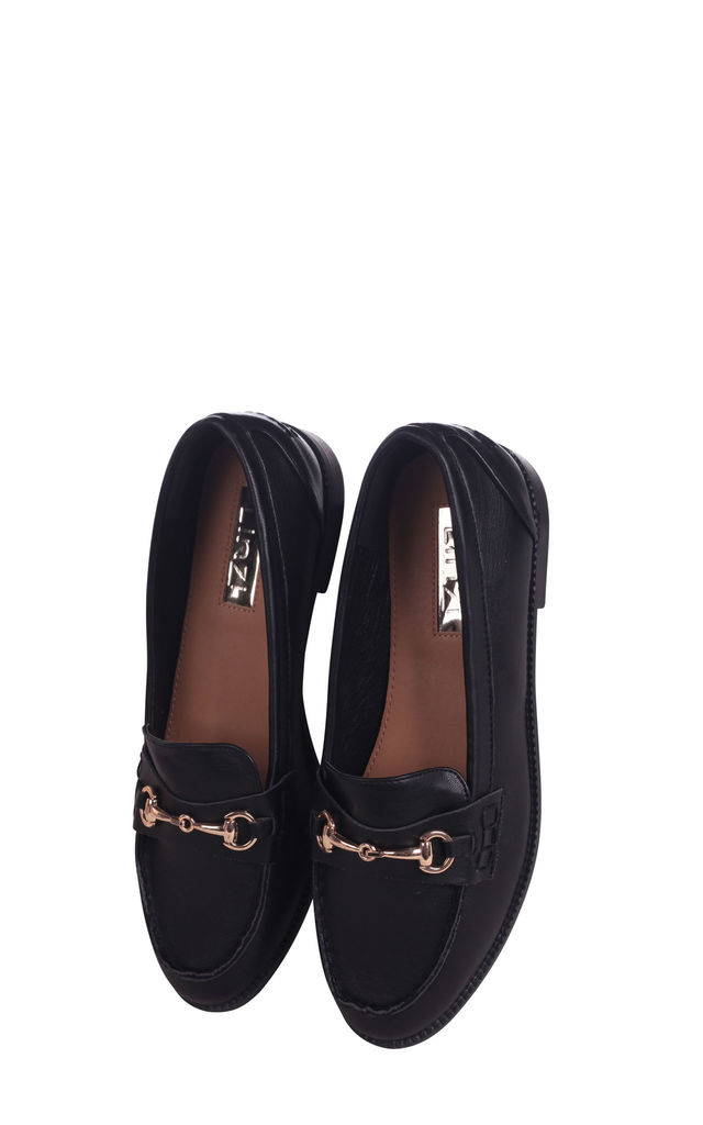 Rosetta Black Nappa Slip On Loafer With Gold Bar Front Detail by Linzi