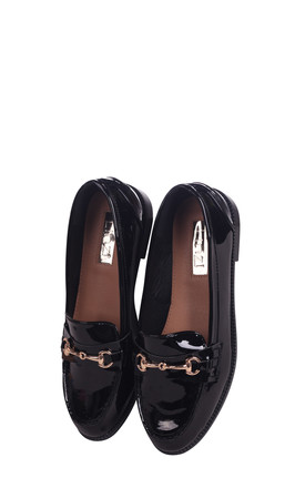 Rosetta Black Patent Slip On Loafer With Gold Bar Front Detail by Linzi