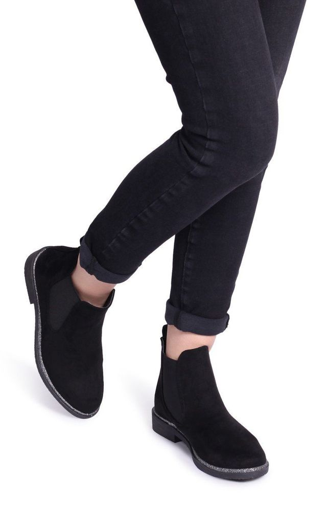 Valencia Black Suede Classic Chelsea Boot With Glitter Trim by Linzi