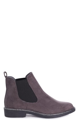 Valencia Grey Suede Classic Chelsea Boot With Glitter Trim by Linzi