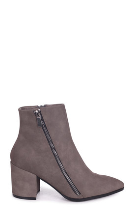 Emma Grey Block Heeled Boot With Pointed Toe & Outer Zip Detail by Linzi