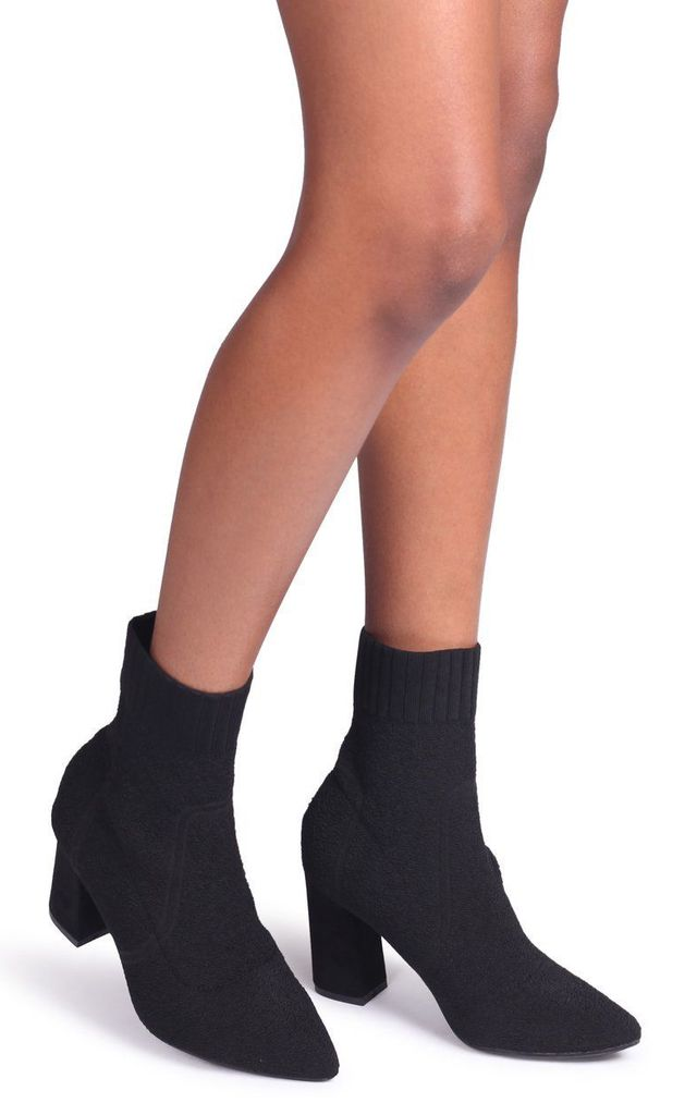 Patricia Textured Black Sock Heeled Ankle Boots by Linzi