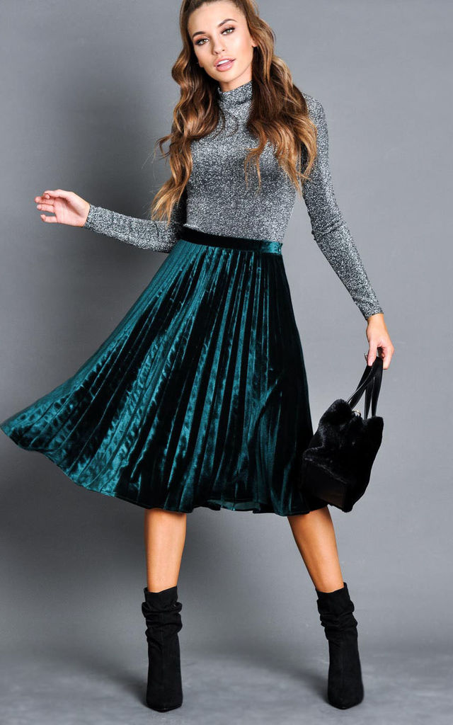 Velvet Pleated Midi Skirt Dark Green by LILY LULU FASHION