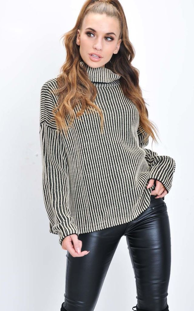 Oversized Ribbed Stripe Knit Jumper Beige by LILY LULU FASHION