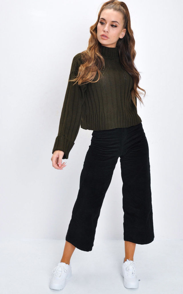 Cropped Knitted Turtleneck Jumper Khaki Green by LILY LULU FASHION