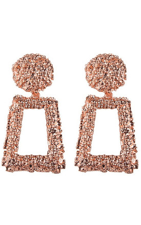 Chunky Rose Gold Textured Statement Earrings by Olivia Divine Jewellery Product photo