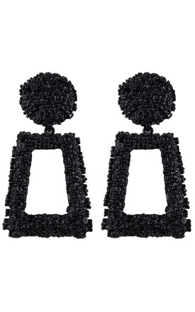 Black Textured Geometric Statement Earrings by Olivia Divine Jewellery Product photo