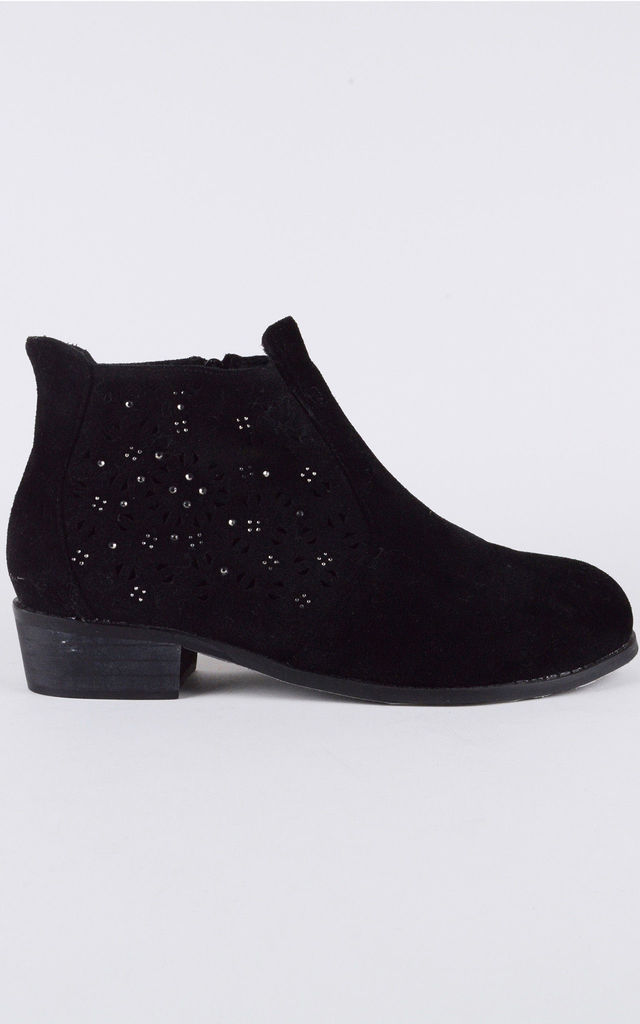 Black Suedette Flat Ankle Boot With Silver Studwork by LOVEMYSTYLE