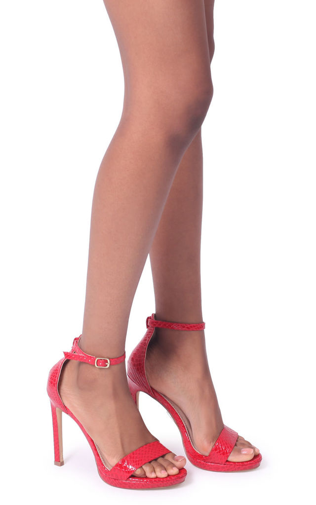 Gabriella Barely There Stiletto Heels in Red Lizard by Linzi