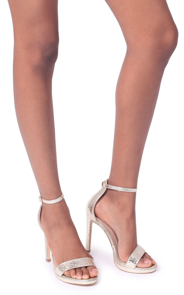 Gabriella Barely There Stiletto Heels in Gold Lizard by Linzi