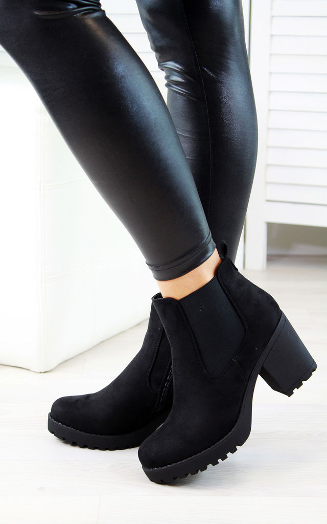 Black Suede Zipped Heeled Ankle Boots by Larena Fashion