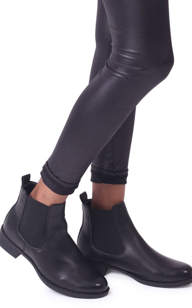 Marcela Black Nappa Classic Chelsea Boot With Elasticated Side Panels by Linzi