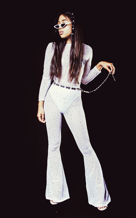Bebe Sequin Jumpsuit White by Willows Call