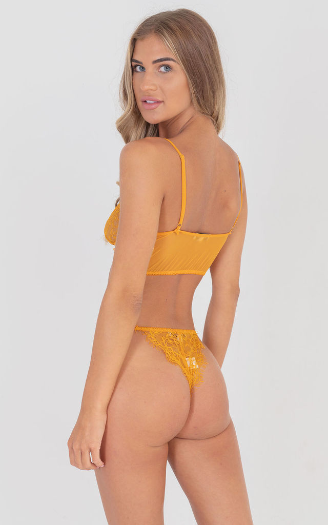 Two Piece embroidered Lingerie Set in Mustard by Saint Genies