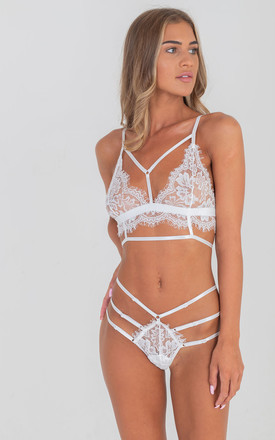 White Two Piece Lace Up Lingerie Set by Saint Genies