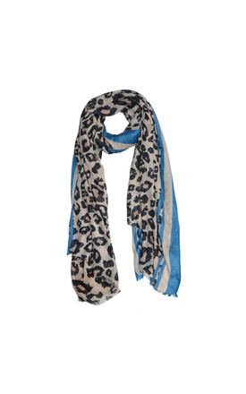 Leopard Print Scarf With Blue by White Leaf Product photo