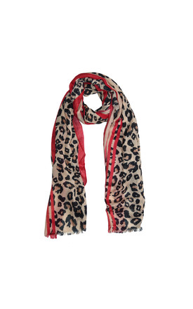 Leopard Print Scarf With Red by White Leaf Product photo