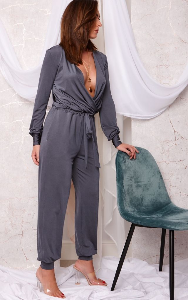MOLLY LONG SLEEVE SILK TOUCH JERSEY JUMPSUIT CHARCOAL GREY by Cheeky's