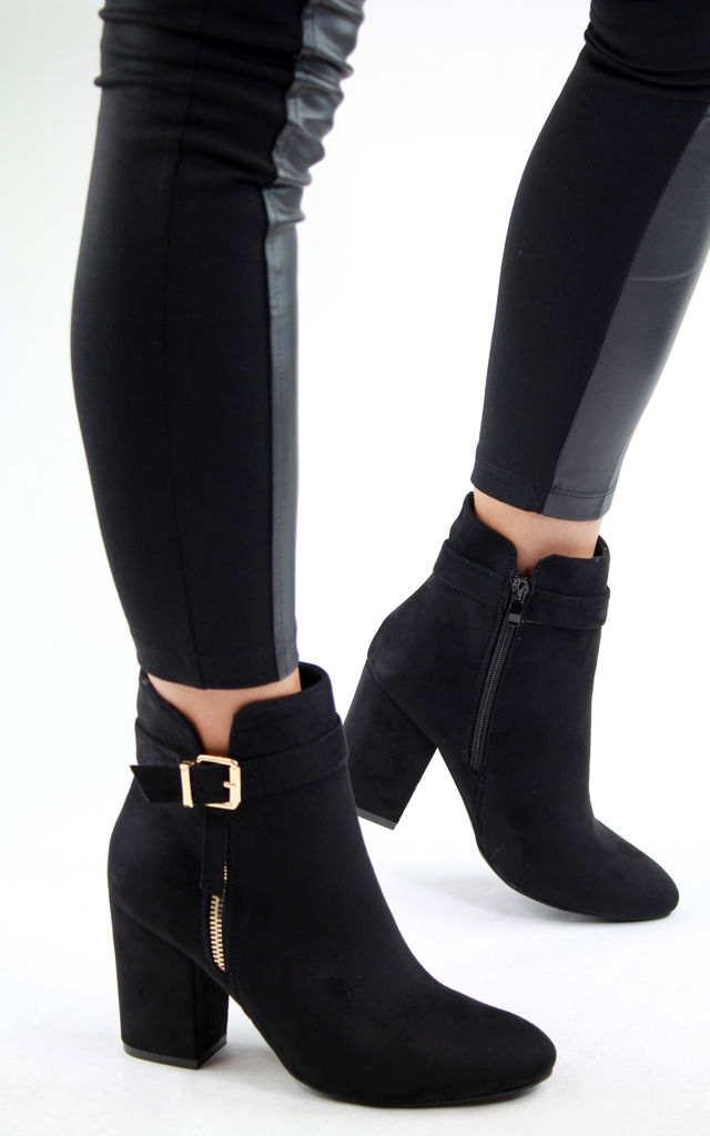 Black Buckle and Zip Heeled Ankle Boots by Larena Fashion